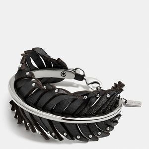 Coach Leather Studded Feather Cuff Bracelet